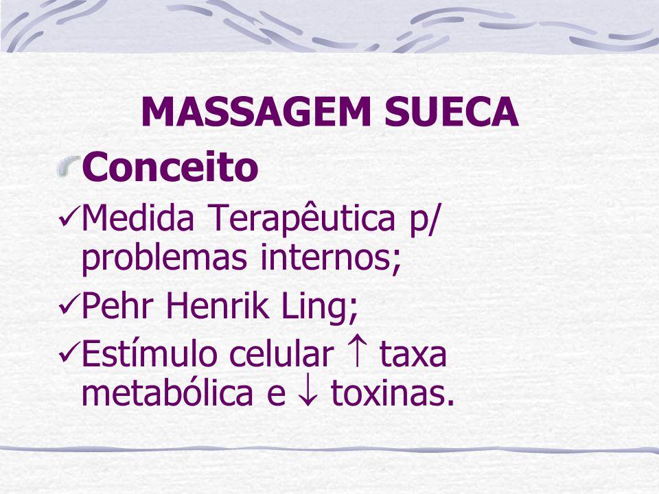 MASSAGEM SUECA Conceito  Medida Terapêutica p/ problemas internos;  Pehr Henrik Ling;  Estímulo celular  taxa metabólica e  toxinas.