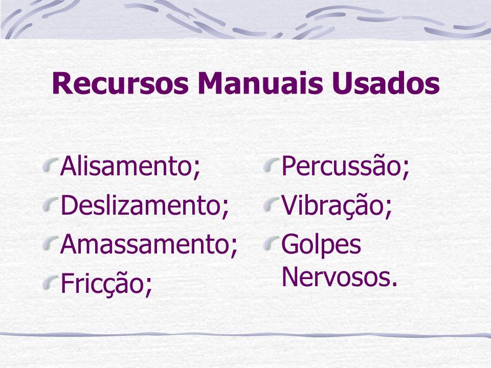 Recursos Manuais Usados Alisamento; Deslizamento; Amassamento; Fricção; Percussão; Vibração; Golpes Nervosos.