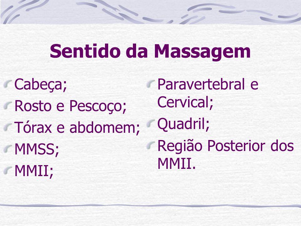 Sentido da Massagem Cabeça; Rosto e Pescoço; Tórax e abdomem; MMSS; MMII; Paravertebral e Cervical; Quadril; Região Posterior dos MMII.
