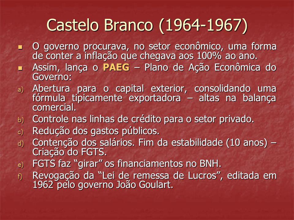 Castelo Branco (1964-1967)  O governo procurava, no setor econômico, uma forma de conter a inflação que chegava aos 100% ao ano.  Assim, lança o PAE