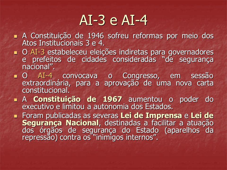 AI-3 e AI-4  A Constituição de 1946 sofreu reformas por meio dos Atos Institucionais 3 e 4.  O AI-3 estabeleceu eleições indiretas para governadores