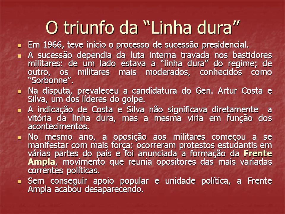 """O triunfo da """"Linha dura""""  Em 1966, teve início o processo de sucessão presidencial.  A sucessão dependia da luta interna travada nos bastidores mil"""