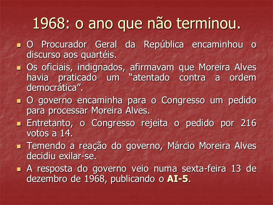 1968: o ano que não terminou.  O Procurador Geral da República encaminhou o discurso aos quartéis.  Os oficiais, indignados, afirmavam que Moreira A