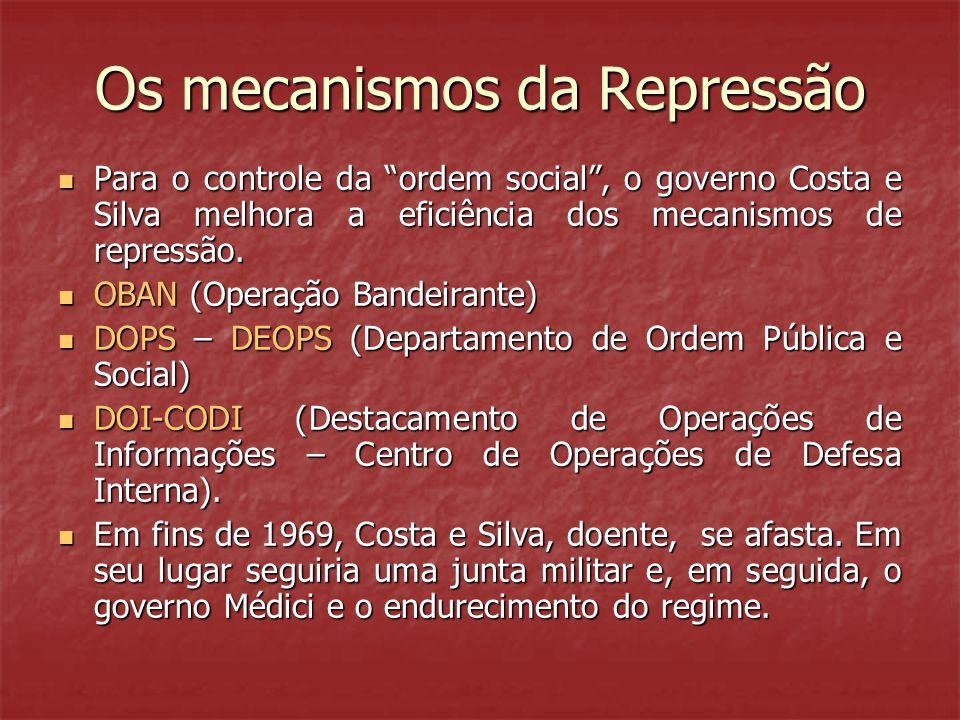 """Os mecanismos da Repressão  Para o controle da """"ordem social"""", o governo Costa e Silva melhora a eficiência dos mecanismos de repressão.  OBAN (Oper"""