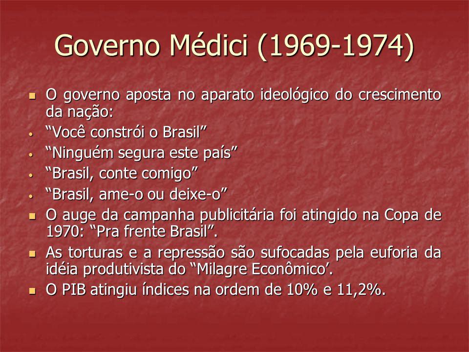"""Governo Médici (1969-1974)  O governo aposta no aparato ideológico do crescimento da nação: • """"Você constrói o Brasil"""" • """"Ninguém segura este país"""" •"""