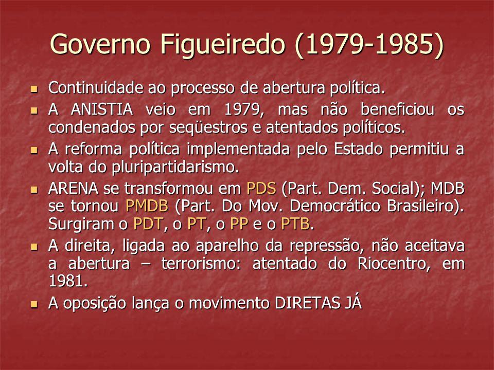 Governo Figueiredo (1979-1985)  Continuidade ao processo de abertura política.  A ANISTIA veio em 1979, mas não beneficiou os condenados por seqüest