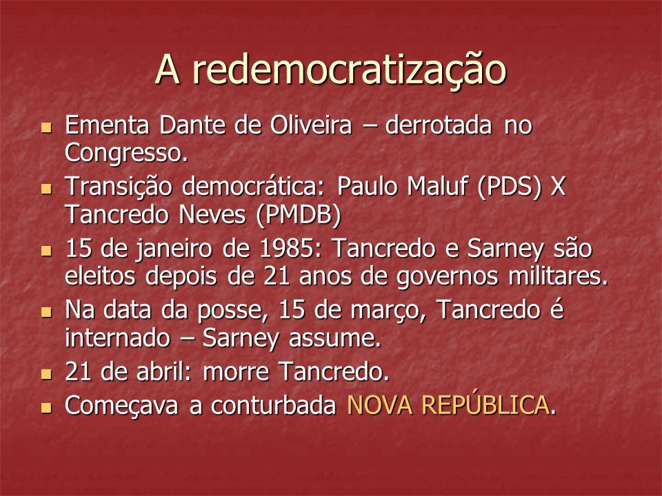 A redemocratização  Ementa Dante de Oliveira – derrotada no Congresso.  Transição democrática: Paulo Maluf (PDS) X Tancredo Neves (PMDB)  15 de jan