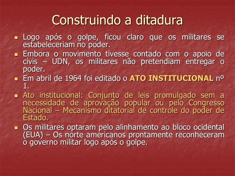 Construindo a ditadura  Logo após o golpe, ficou claro que os militares se estabeleceriam no poder.  Embora o movimento tivesse contado com o apoio