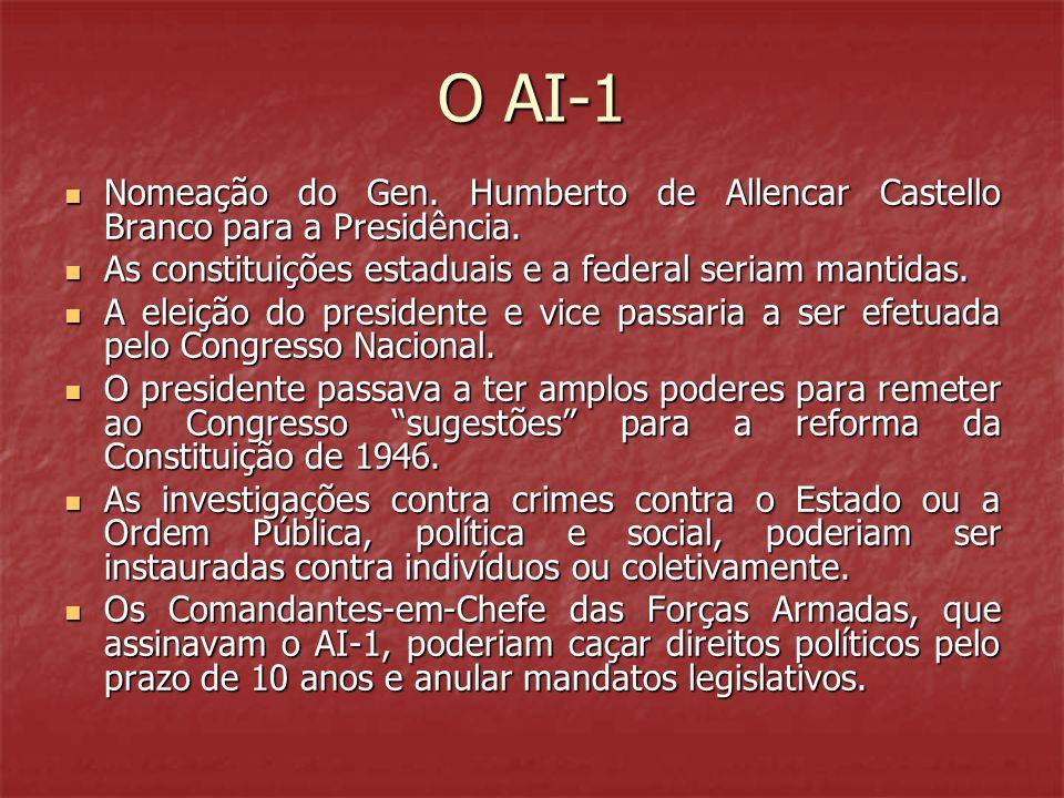 O AI-1  Nomeação do Gen. Humberto de Allencar Castello Branco para a Presidência.  As constituições estaduais e a federal seriam mantidas.  A eleiç