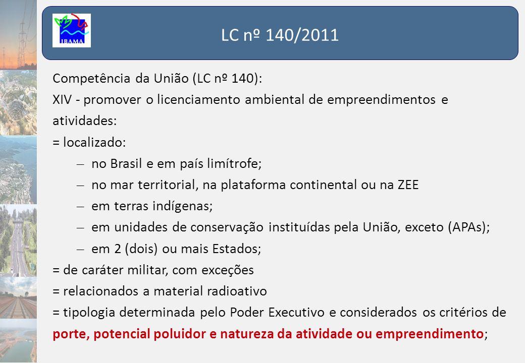 LC nº 140/2011 Competência da União (LC nº 140): XIV - promover o licenciamento ambiental de empreendimentos e atividades: = localizado: – no Brasil e