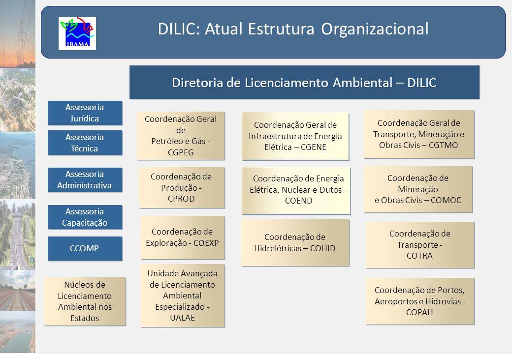 DILIC: Atual Estrutura Organizacional Diretoria de Licenciamento Ambiental – DILIC Coordenação Geral de Infraestrutura de Energia Elétrica – CGENE Coo
