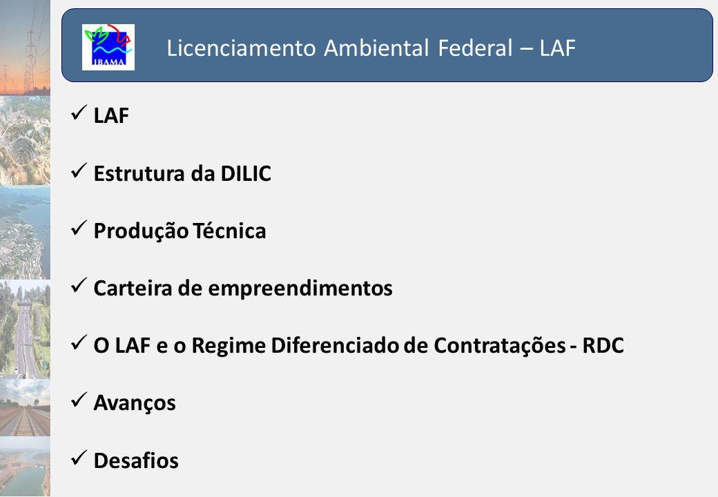 Licenciamento Ambiental Federal – LAF  LAF  Estrutura da DILIC  Produção Técnica  Carteira de empreendimentos  O LAF e o Regime Diferenciado de C