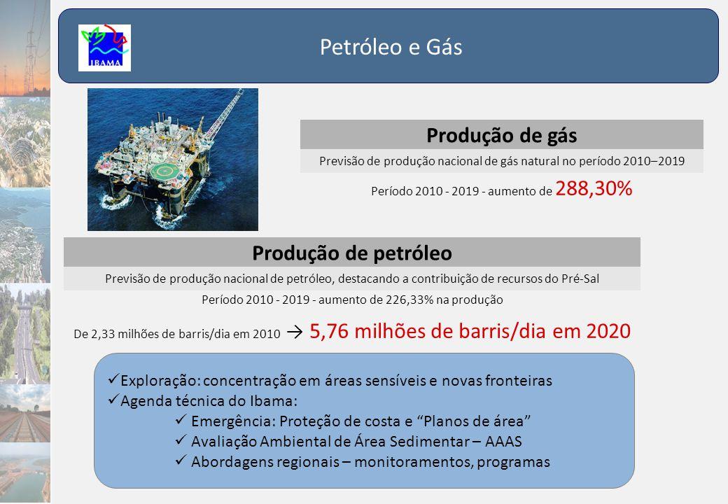 Petróleo e Gás Produção de gás Previsão de produção nacional de gás natural no período 2010–2019 Período 2010 - 2019 - aumento de 288,30% Produção de