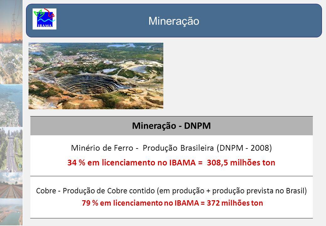 Mineração - DNPM Minério de Ferro - Produção Brasileira (DNPM - 2008) 34 % em licenciamento no IBAMA = 308,5 milhões ton Cobre - Produção de Cobre con