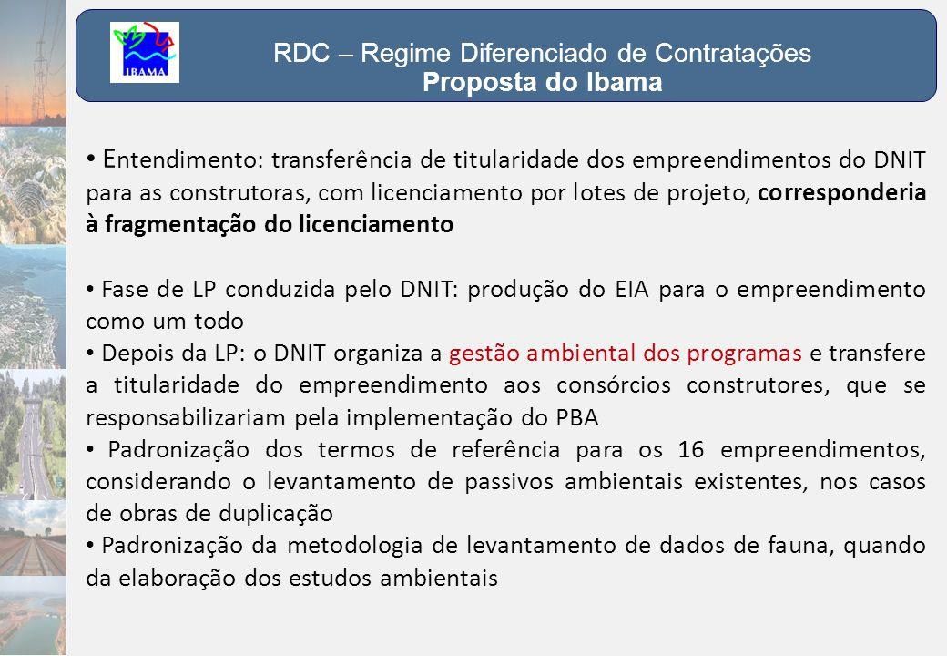 RDC – Regime Diferenciado de Contratações Proposta do Ibama • E ntendimento: transferência de titularidade dos empreendimentos do DNIT para as constru