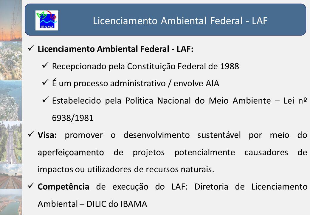 Licenciamento Ambiental Federal - LAF  Licenciamento Ambiental Federal - LAF:  Recepcionado pela Constituição Federal de 1988  É um processo admini