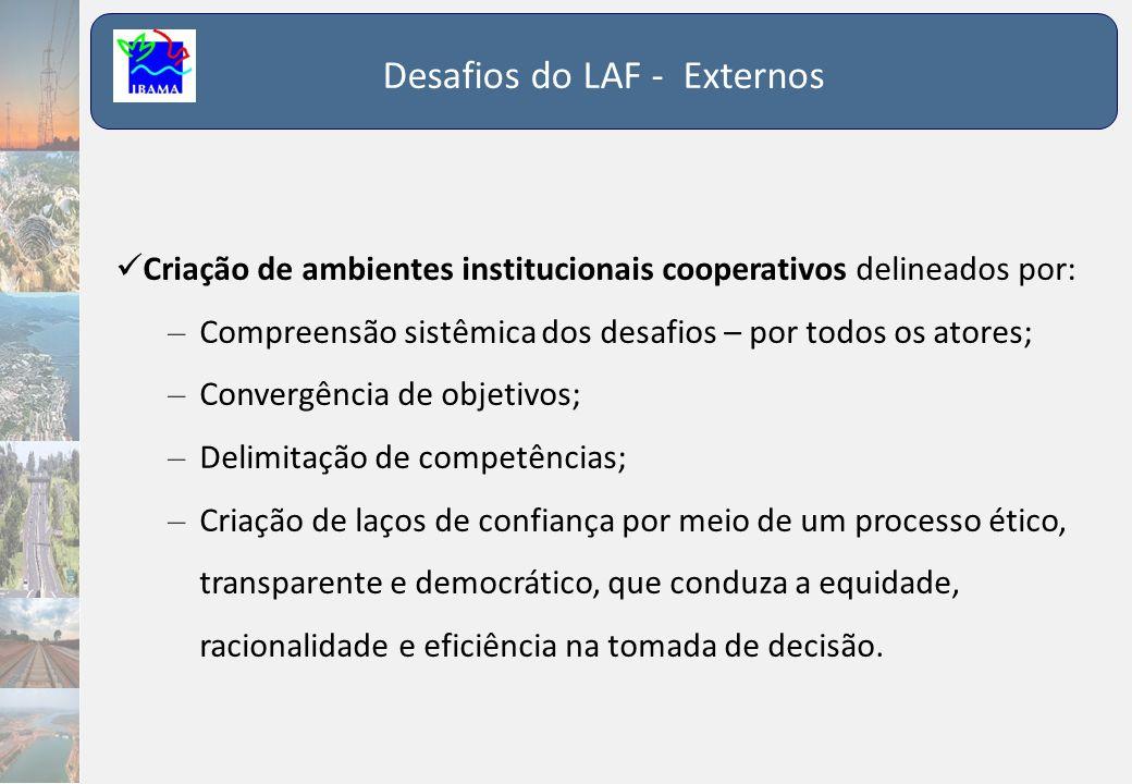 Desafios do LAF - Externos  Criação de ambientes institucionais cooperativos delineados por: – Compreensão sistêmica dos desafios – por todos os ator