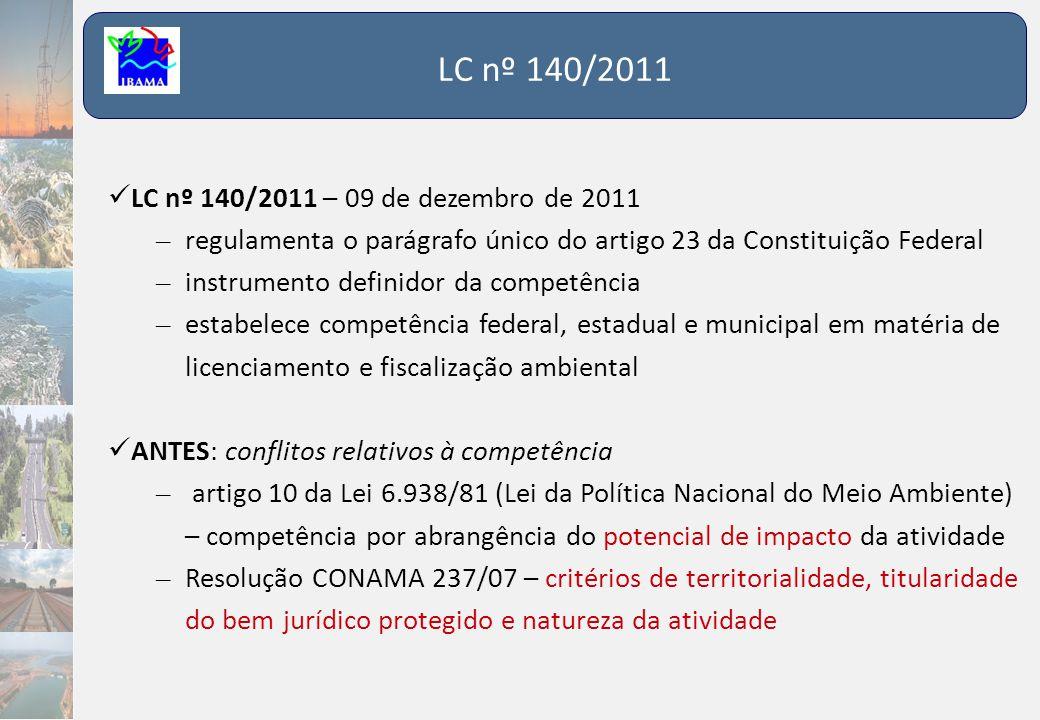 LC nº 140/2011  LC nº 140/2011 – 09 de dezembro de 2011 – regulamenta o parágrafo único do artigo 23 da Constituição Federal – instrumento definidor
