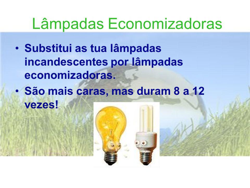 Lâmpadas Economizadoras •Substitui as tua lâmpadas incandescentes por lâmpadas economizadoras.