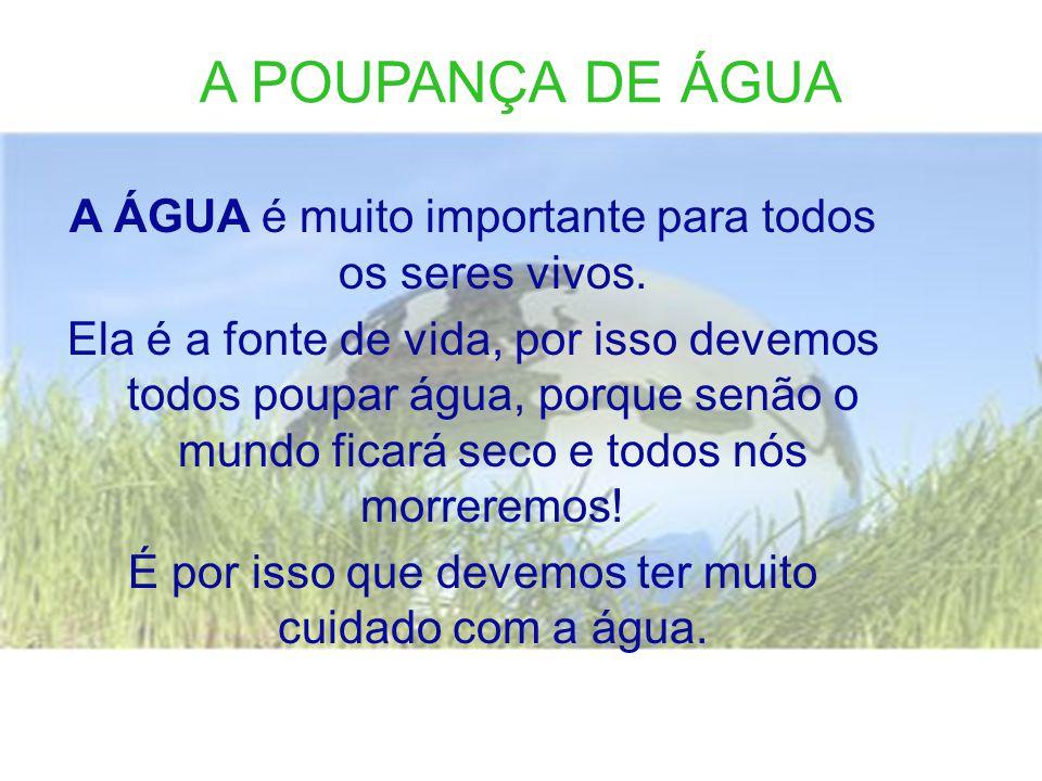 A POUPANÇA DE ÁGUA A ÁGUA é muito importante para todos os seres vivos.