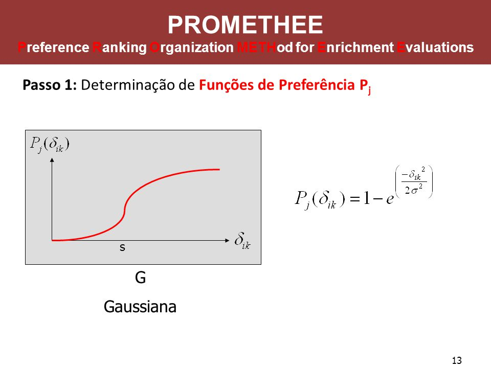 13 PROMETHEE Preference Ranking Organization METHod for Enrichment Evaluations Passo 1: Determinação de Funções de Preferência P j G Gaussiana s