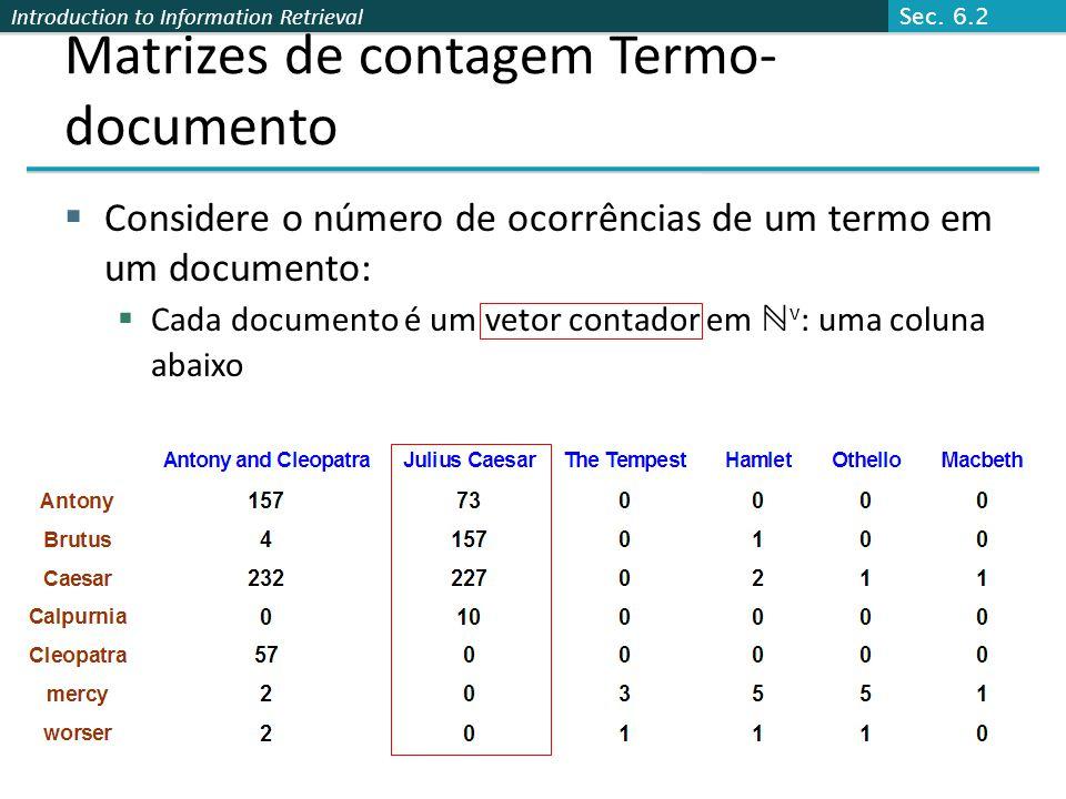 Introduction to Information Retrieval Matrizes de contagem Termo- documento  Considere o número de ocorrências de um termo em um documento:  Cada do