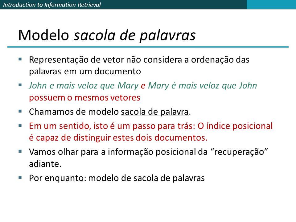Introduction to Information Retrieval Modelo sacola de palavras  Representação de vetor não considera a ordenação das palavras em um documento  John