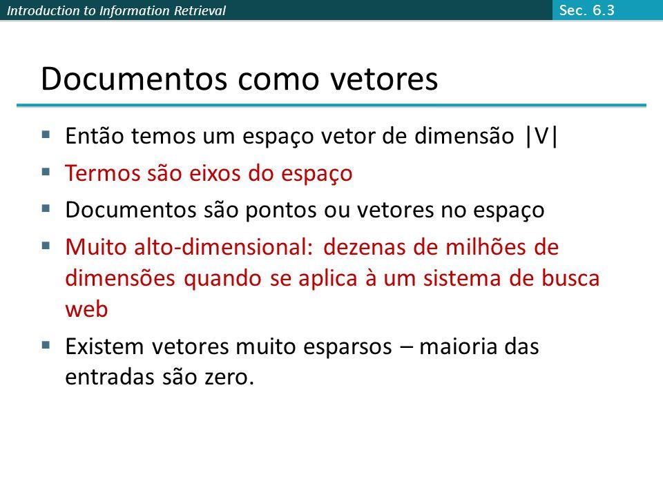 Introduction to Information Retrieval Documentos como vetores  Então temos um espaço vetor de dimensão |V|  Termos são eixos do espaço  Documentos