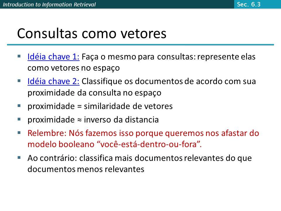 Introduction to Information Retrieval Consultas como vetores  Idéia chave 1: Faça o mesmo para consultas: represente elas como vetores no espaço  Id