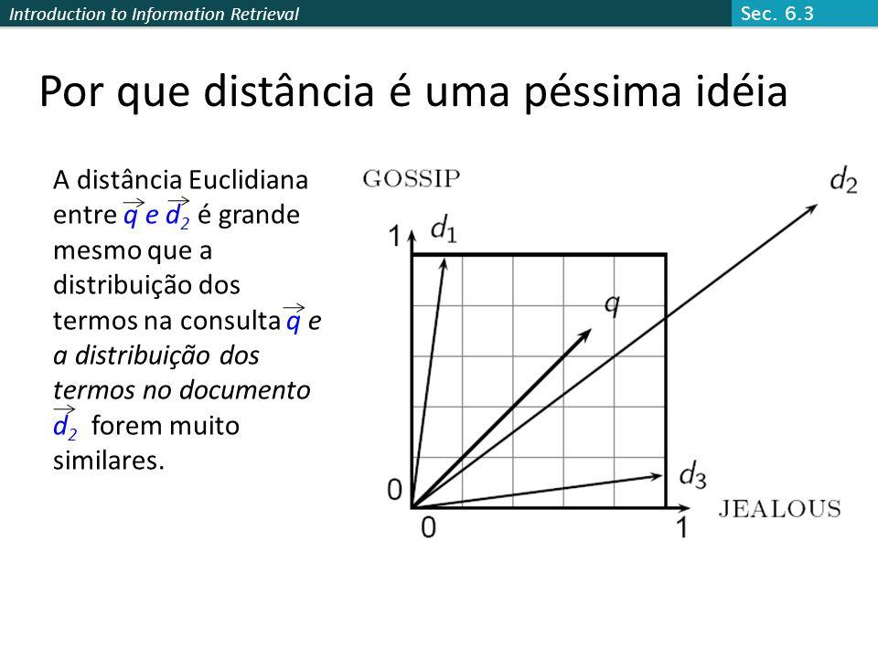 Introduction to Information Retrieval Por que distância é uma péssima idéia A distância Euclidiana entre q e d 2 é grande mesmo que a distribuição dos