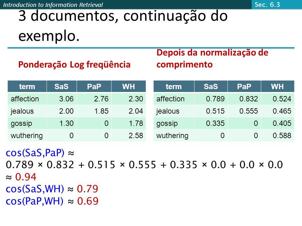 Introduction to Information Retrieval 3 documentos, continuação do exemplo. Ponderação Log freqüência termSaSPaPWH affection3.062.762.30 jealous2.001.