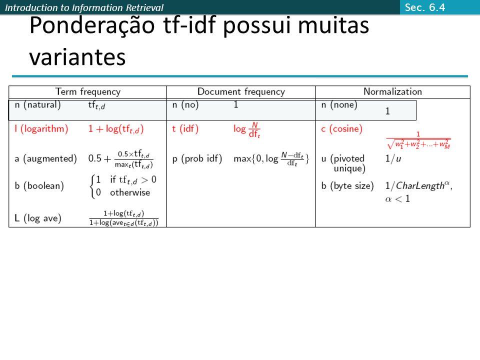 Introduction to Information Retrieval Ponderação tf-idf possui muitas variantes Sec. 6.4