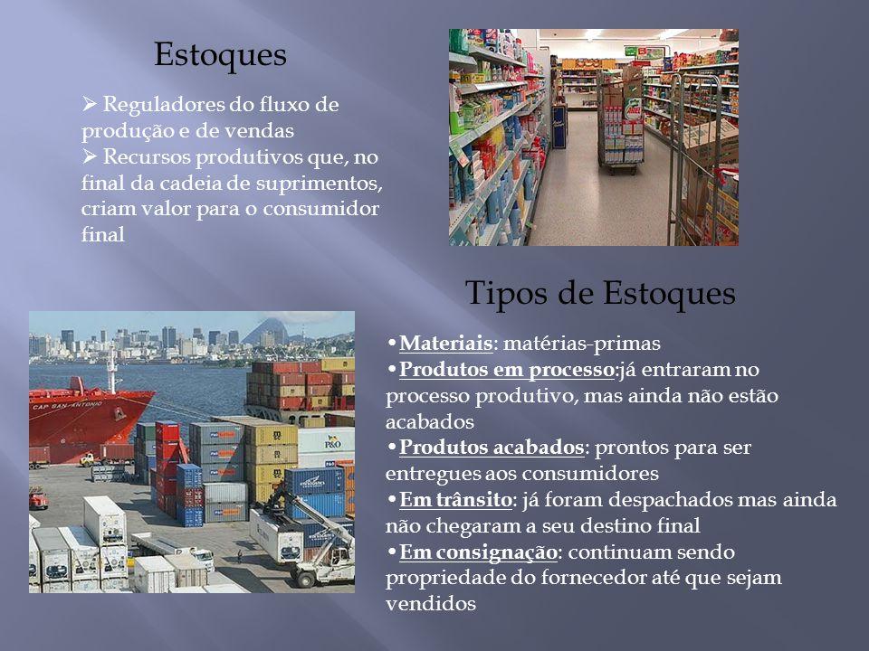 Reguladores do fluxo de produção e de vendas  Recursos produtivos que, no final da cadeia de suprimentos, criam valor para o consumidor final Estoq