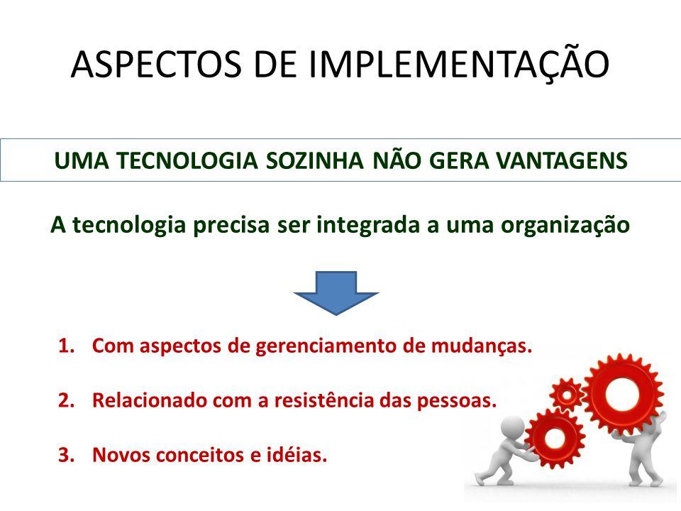 ASPECTOS DE IMPLEMENTAÇÃO UMA TECNOLOGIA SOZINHA NÃO GERA VANTAGENS A tecnologia precisa ser integrada a uma organização 1.Com aspectos de gerenciamen