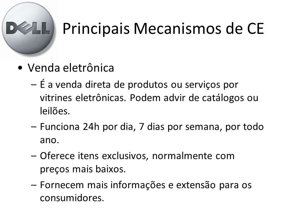 Principais Mecanismos de CE •Venda eletrônica –É a venda direta de produtos ou serviços por vitrines eletrônicas. Podem advir de catálogos ou leilões.