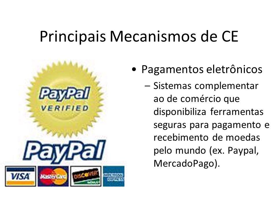 Principais Mecanismos de CE •Pagamentos eletrônicos –Sistemas complementar ao de comércio que disponibiliza ferramentas seguras para pagamento e receb
