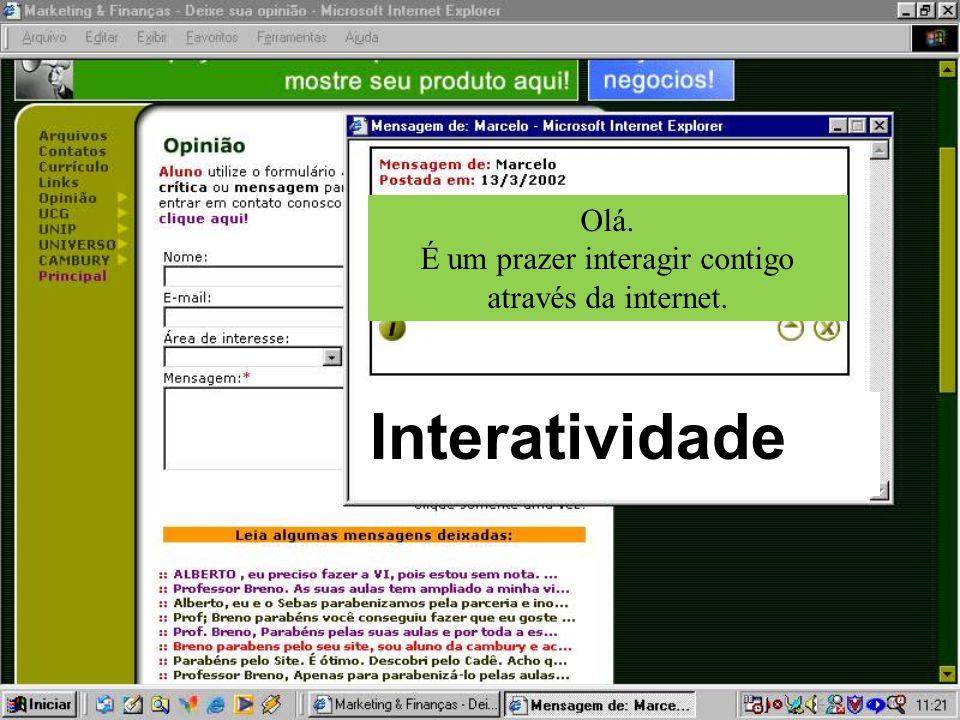 Interatividade Olá. É um prazer interagir contigo através da internet.