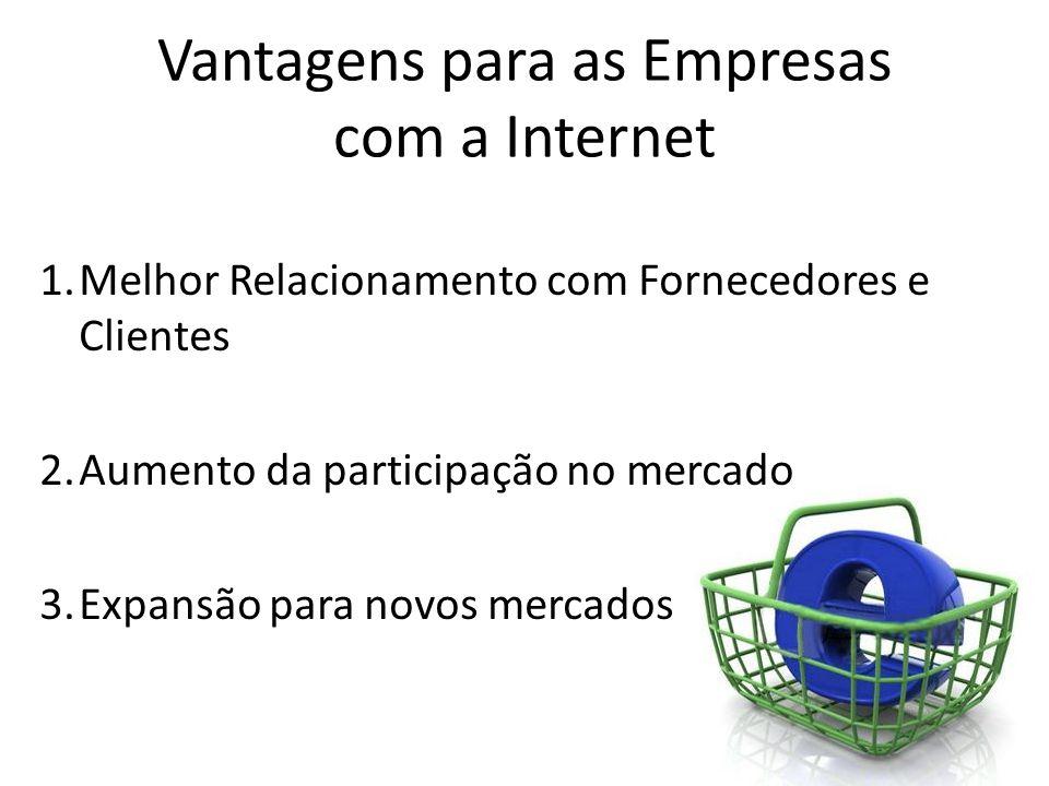 Vantagens para as Empresas com a Internet 1.Melhor Relacionamento com Fornecedores e Clientes 2.Aumento da participação no mercado 3.Expansão para nov