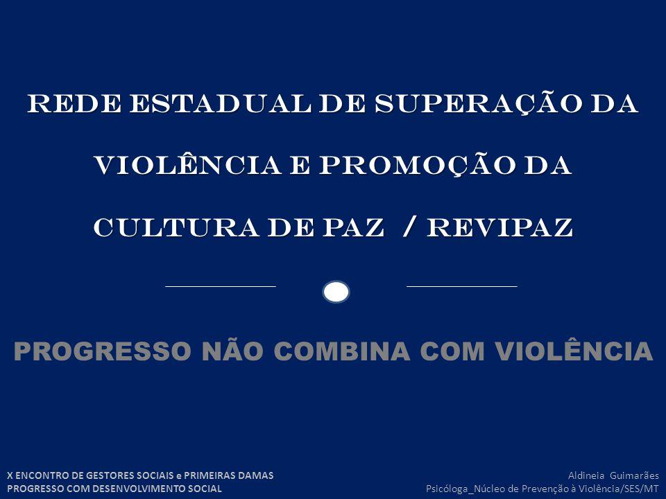 REDE ESTADUAL DE SUPERAÇÃO DA VIOLÊNCIA E PROMOÇÃO DA CULTURA DE PAZ / revipaz PROGRESSO NÃO COMBINA COM VIOLÊNCIA Aldineia Guimarães Psicóloga_Núcleo de Prevenção à Violência/SES/MT X ENCONTRO DE GESTORES SOCIAIS e PRIMEIRAS DAMAS PROGRESSO COM DESENVOLVIMENTO SOCIAL