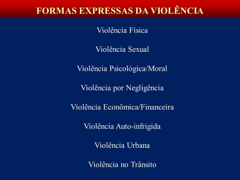 Violência Física Violência Sexual Violência Psicológica/Moral Violência por Negligência Violência Econômica/Financeira Violência Auto-infrigida Violência Urbana Violência no Trânsito FORMAS EXPRESSAS DA VIOLÊNCIA