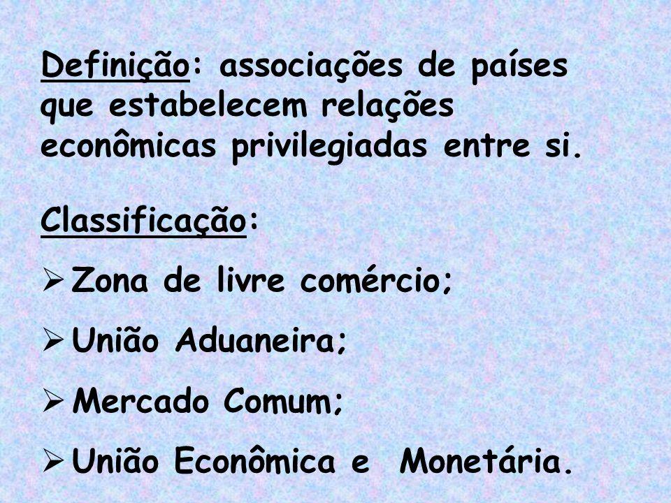 Classificação:  Zona de livre comércio;  União Aduaneira;  Mercado Comum;  União Econômica e Monetária. Definição: associações de países que estab