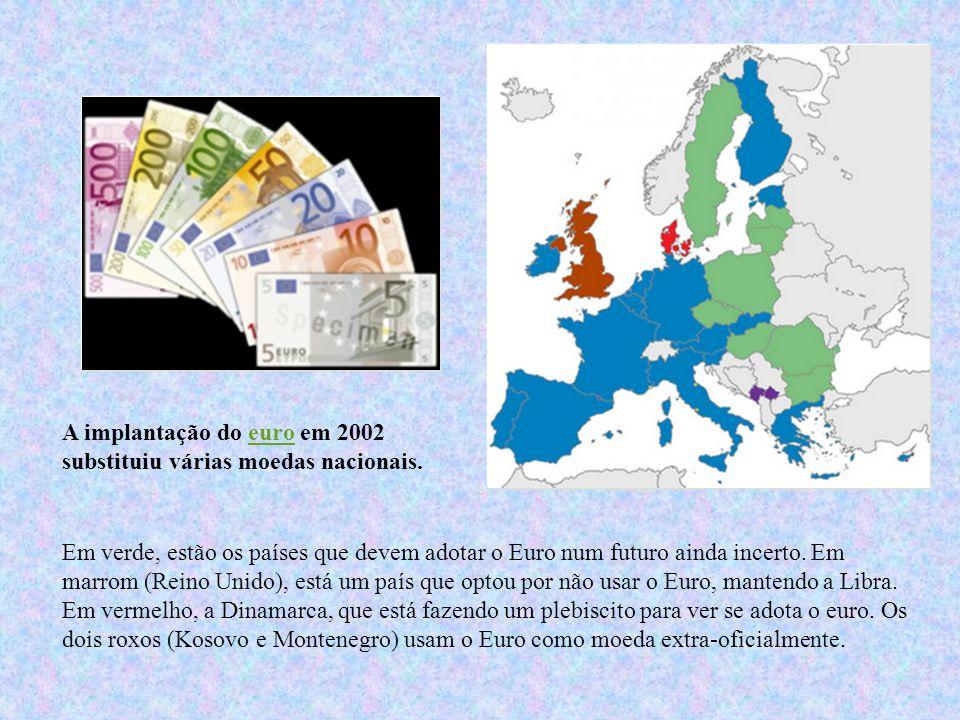 Em verde, estão os países que devem adotar o Euro num futuro ainda incerto. Em marrom (Reino Unido), está um país que optou por não usar o Euro, mante