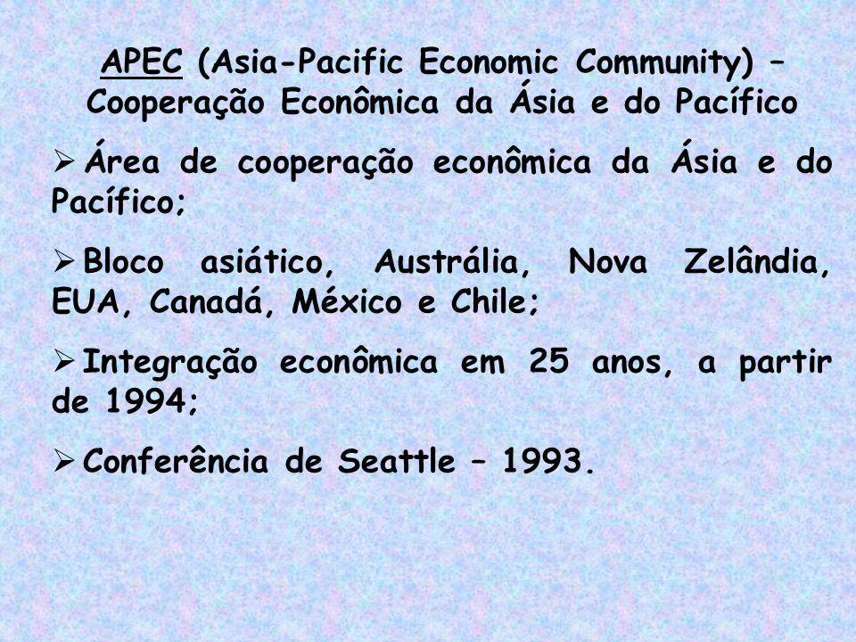 APEC (Asia-Pacific Economic Community) – Cooperação Econômica da Ásia e do Pacífico  Área de cooperação econômica da Ásia e do Pacífico;  Bloco asiá