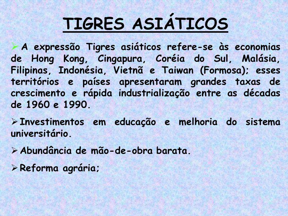 TIGRES ASIÁTICOS  A expressão Tigres asiáticos refere-se às economias de Hong Kong, Cingapura, Coréia do Sul, Malásia, Filipinas, Indonésia, Vietnã e