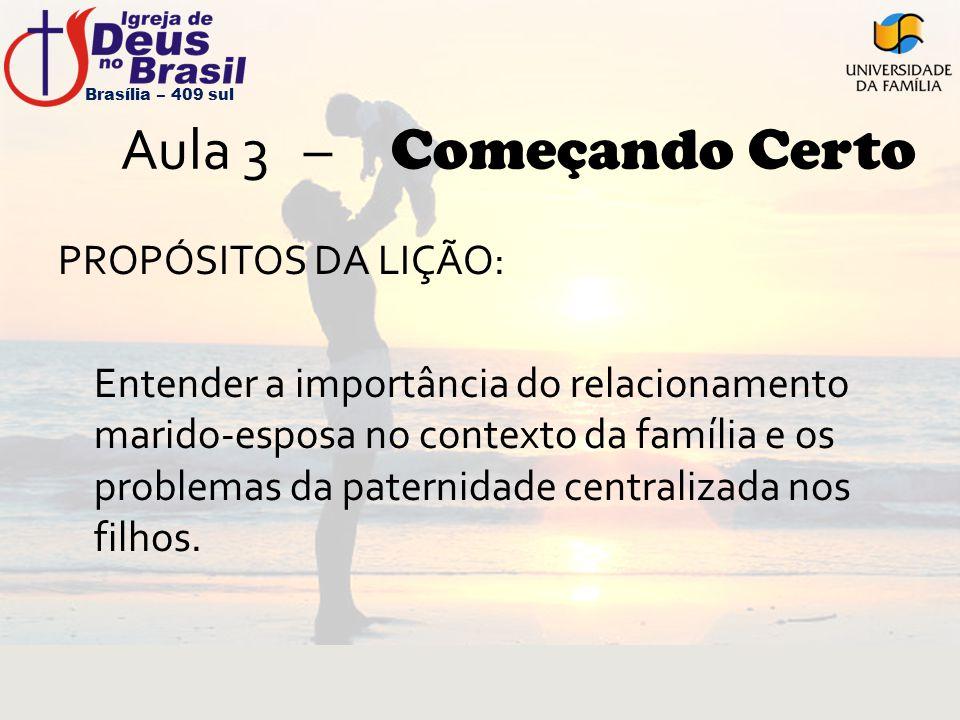 Aula 3 – Começando Certo PROPÓSITOS DA LIÇÃO: Entender a importância do relacionamento marido-esposa no contexto da família e os problemas da paternid
