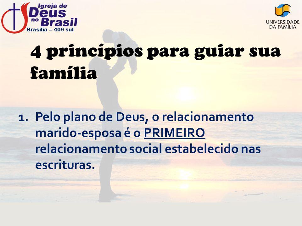 4 princípios para guiar sua família 1.Pelo plano de Deus, o relacionamento marido-esposa é o PRIMEIRO relacionamento social estabelecido nas escritura
