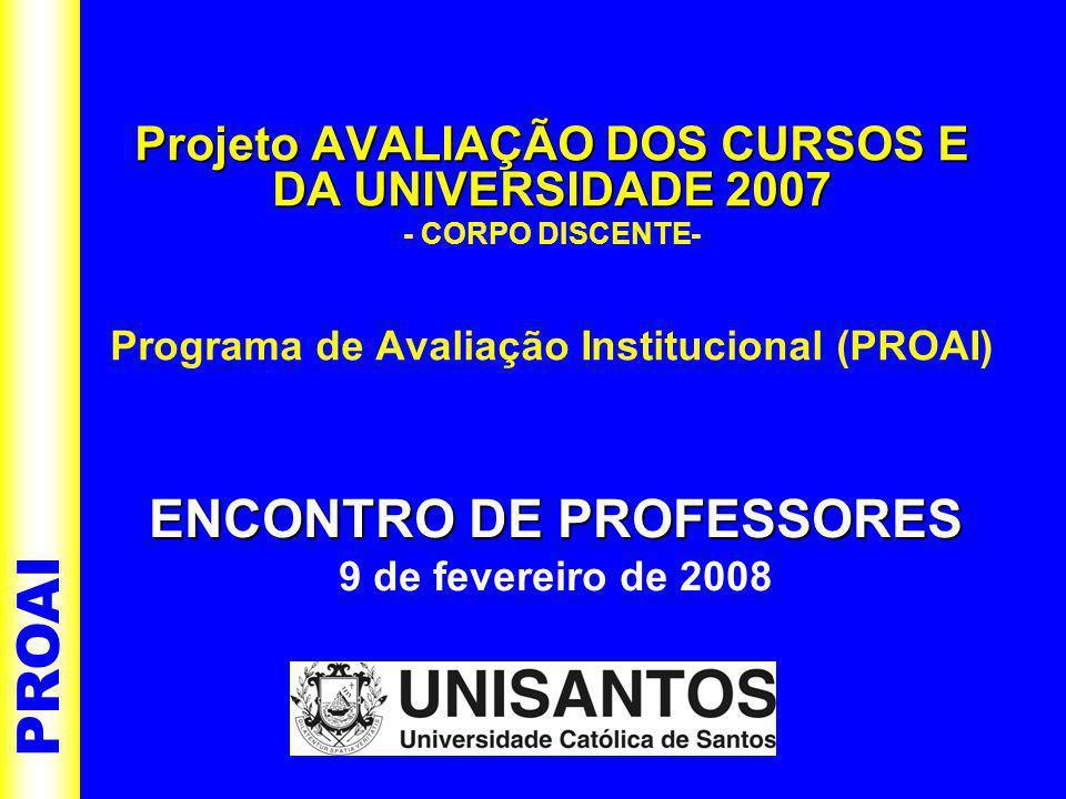 Projeto AVALIAÇÃO DOS CURSOS E DA UNIVERSIDADE 2007 - CORPO DISCENTE- Programa de Avaliação Institucional (PROAI) PROAI ENCONTRO DE PROFESSORES ENCONTRO DE PROFESSORES 9 de fevereiro de 2008