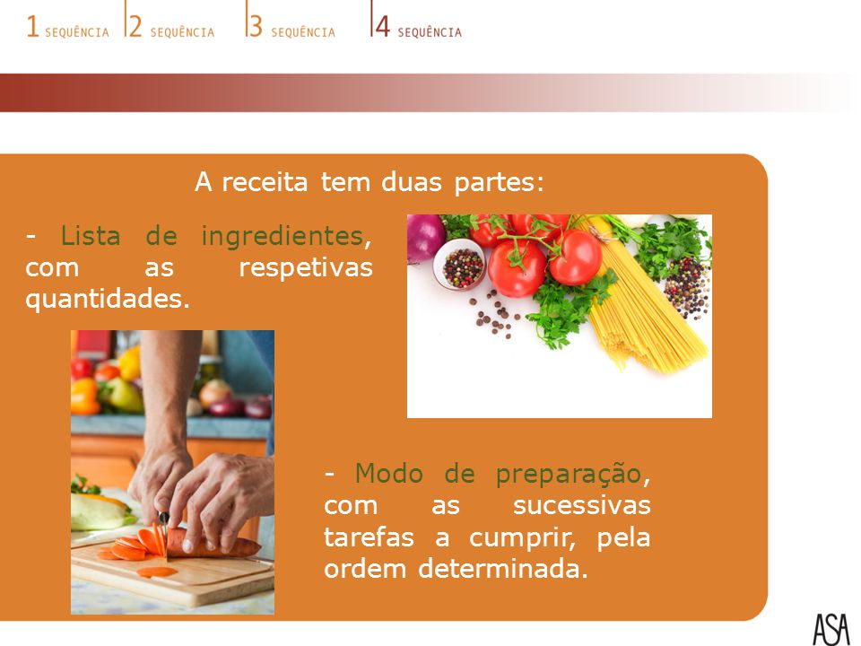 A receita tem duas partes: - Lista de ingredientes, com as respetivas quantidades. - Modo de preparação, com as sucessivas tarefas a cumprir, pela ord