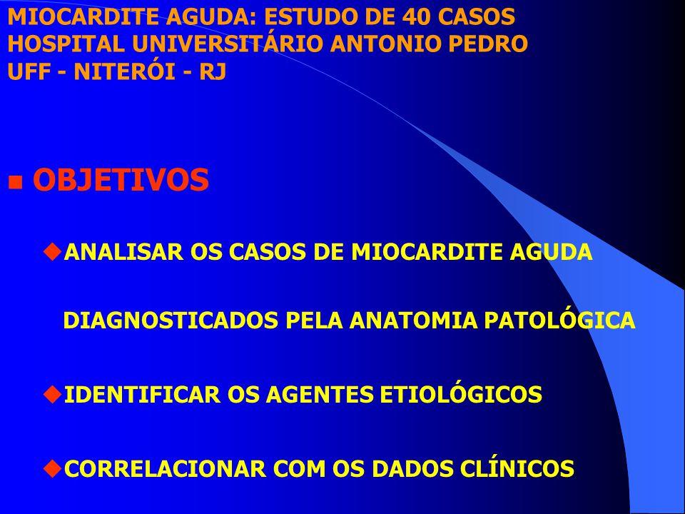 n OBJETIVOS uANALISAR OS CASOS DE MIOCARDITE AGUDA DIAGNOSTICADOS PELA ANATOMIA PATOLÓGICA uIDENTIFICAR OS AGENTES ETIOLÓGICOS uCORRELACIONAR COM OS DADOS CLÍNICOS