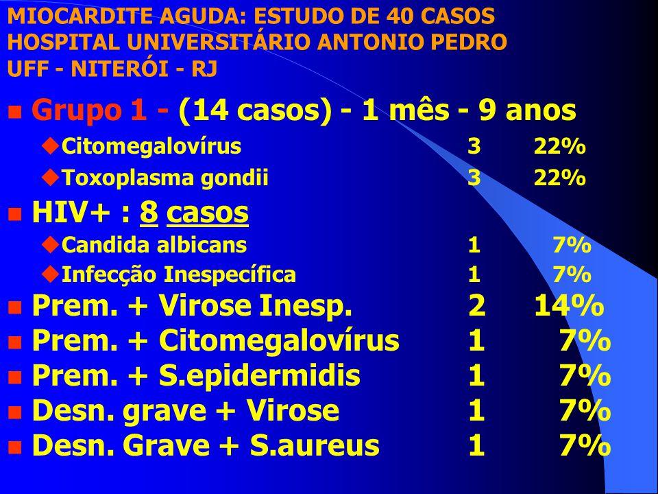 n Grupo 1 - (14 casos) - 1 mês - 9 anos uCitomegalovírus322% uToxoplasma gondii322% n HIV+ : 8 casos uCandida albicans1 7% uInfecção Inespecífica1 7% n Prem.